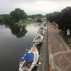 Line of boats on the float docks in Waterford