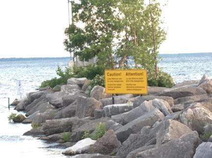 Lake Simcoe Caution Sign