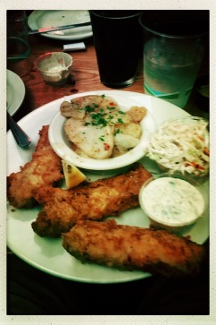 Fried cod and potato salad