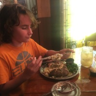 AJ hammering his loaded potato