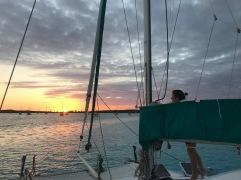 Jan getting main sail ready