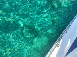 Looking down into 10 feet of clear water